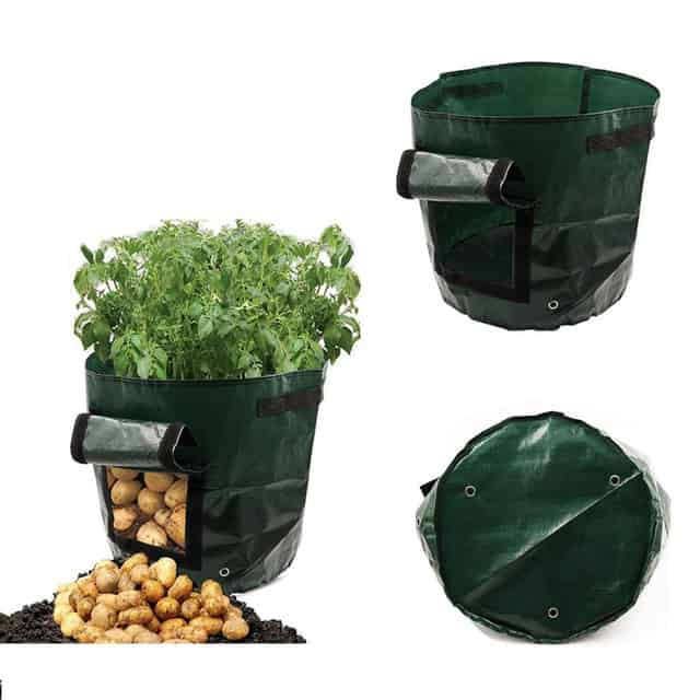Potato Grow Bag Green Plastic Garden Vegetables Planter Bag Access Flap Harvesting Flower Plants Nursery Pots